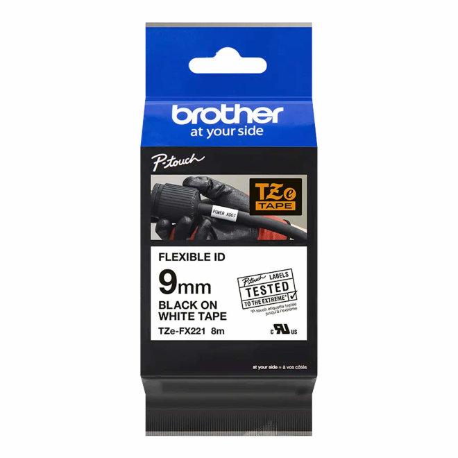 Brother TZe-FX221, bijela traka s crnim ispisom, fleksibilna, širina 9 mm, Original [TZEFX221]