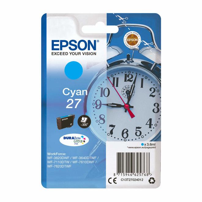 Epson Singlepack Cyan 27 DURABrite Ultra Ink, tinta, cca 300 ispisa, Original [C13T27024012]