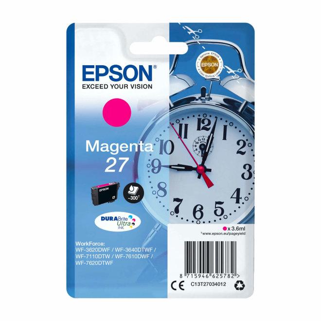 Epson Singlepack Magenta 27 DURABrite Ultra Ink, tinta, Original [C13T27034012]