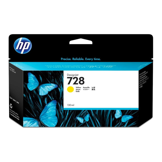 HP 728 130-ml Yellow DesignJet Ink Cartridge, Original [F9J65A]