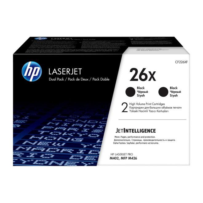 HP 26X 2-pack High Yield Black LaserJet Toner Cartridges, cca 9.000 ispisa/kazeta, Original [CF226XD]