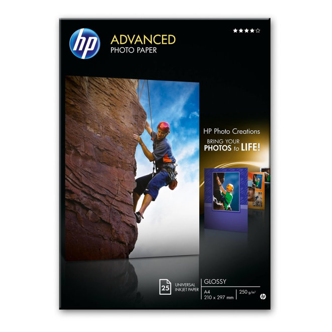 HP Advanced Glossy Photo Paper, papir, A4, 250 g/m², 25 listova, Original [Q5456A]