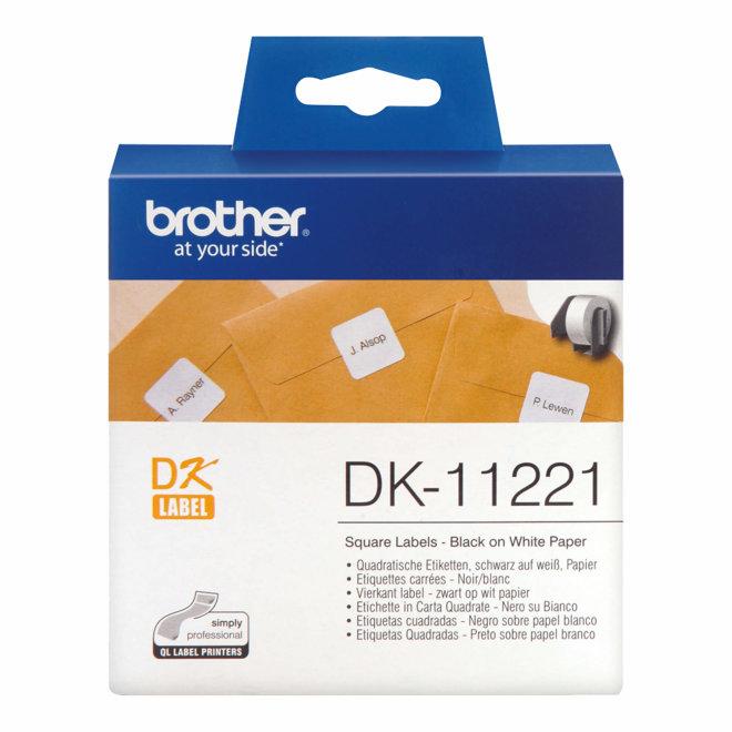 Brother naljepnice DK-11221, bijela rola s crnim ispisom, kvadratne 23 mm x 23 mm, 1000 naljepnica, Original [DK11221]
