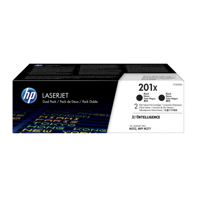 HP 201X 2-pack High Yield Black Original LaserJet Toner Cartridges, kazeta x 2, cca 6.500 ispisa / kazeta, Original [CF400XD]