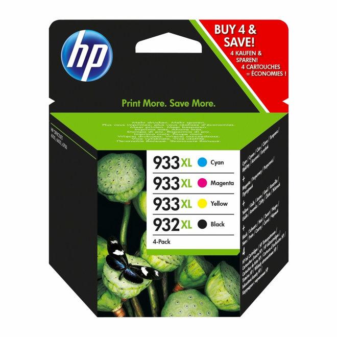 HP 932XL Black/933XL Cyan/Magenta/Yellow 4-pack Original Ink Cartridges [C2P42AE]