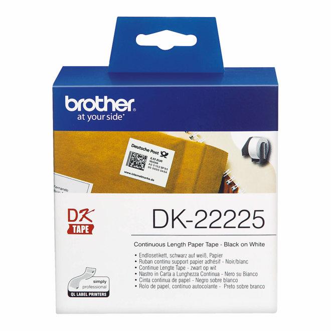 Brother naljepnice DK-22225, bijela rola s crnim ispisom, širina 38 mm, dužina 30,48 m, Original [DK22225]