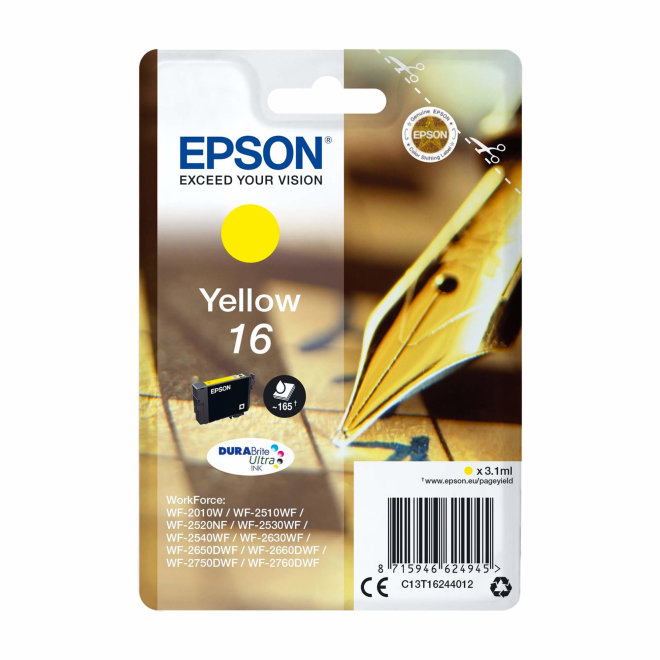 Epson tinta 16, Yellow, DURABrite Ultra Ink, Original [C13T16244022]